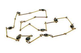 Art Deco 14K Yellow Gold & Moss Agate Long Chain