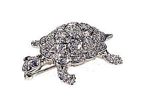 Tiffany Diamond Platinum NATURE Turtle Pin/Pendant