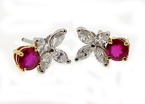 Tiffany Platinum 18K Diamond Ruby VICTORIA Earrings