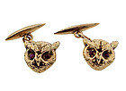 Victorian 14K Yellow Gold & Ruby Owl Cufflinks