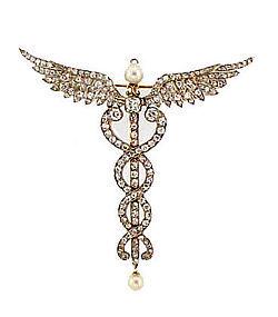 Edwardian Platinum Diamond Pearl Caduceus Pin/Pendant