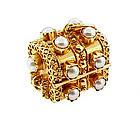 Venetian Etruscan 18K Pearl Treasure Chest Fob Charm