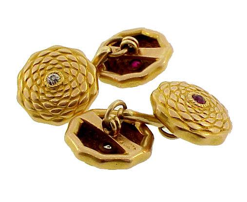 Japanesque Tiffany 18K Gold Diamond Ruby Cufflinks