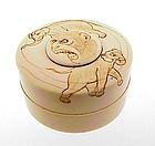 Meiji Carved Elephant & Monkey Ivory Seal Paste Box