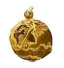 Armand Bargas Art Nouveau 18K Gold Diamond EAU Locket