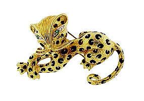 Fred Paris 18K Gold Enamel Diamond Emerald Leopard Pin