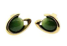 14K Gold Nephrite Jade Cufflinks