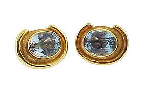 Burle Marx 18K Gold & Blue Topaz Cufflinks