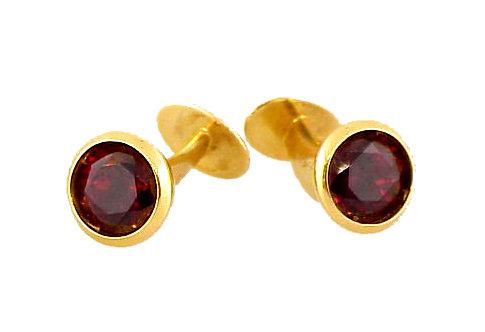 18K Yellow Gold & Rhodolite Garnet Cufflinks