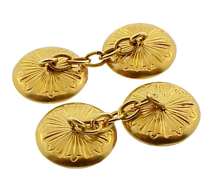 French 18K Gold & Mother-of-Pearl Button Cufflinks