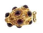 18K Gold Garnet Venetian Etruscan Revival Fob Charm