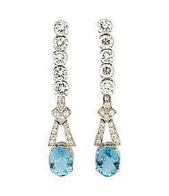 Platinum, Diamond & Aquamarine Drop Earrings