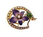 Art Nouveau 14K Gold Enamel Pearl Violet Horseshoe Pin