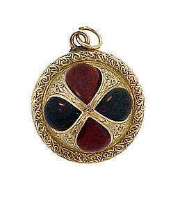 Victorian Scottish Agate & 15K Gold Ball Pendant