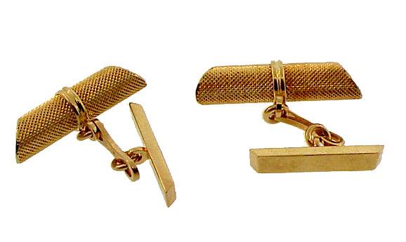 18K Gold Stippled Baton Cufflinks