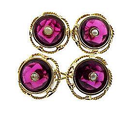 Napoleon III 18K Gold Rhodolite Garnet Pearl Cufflinks