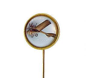 Edwardian 18K Essex Crystal Monoplane Stick Pin