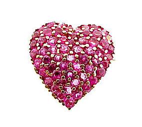 Vintage Tiffany & Co. 14K Gold Ruby Heart Pendant Pin