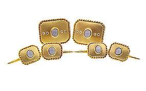 14K Yellow Gold Diamond & Blue Star Sapphire Dress Set