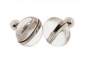 Irish Sterling Silver Rock Crystal Modernist Cufflinks