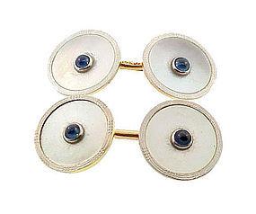 Krementz 14K Gold Platinum MOP Sapphire Cufflinks