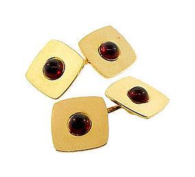 Vintage Larter 14K Gold & Almandite Garnet Cufflinks