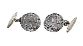 English Art Nouveau Sterling Silver Maiden Cufflinks