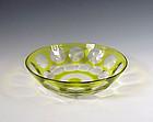 Art Deco Val St. Lambert Chartreuse Cut Glass Bowl