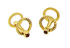Vintage 18K Yellow Gold & Ruby Stirrup Cufflinks