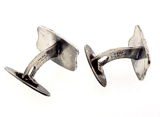 Meka Modernist Danish Sterling Silver Enamel Cufflinks