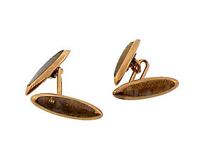 Shreve & Co. 14K Gold, Agate & Gold Quartz Cufflinks