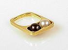 Dinh Van Pierre Cardin 18K Gold Pearl Modernist Ring