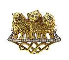 French Art Nouveau 18K Gold & Diamond Cat Brooch