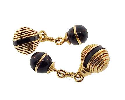 French 18K Gold & Onyx Double Sphere Cufflinks