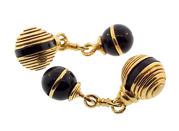 French 18K Gold & Onyx Double Sphere Cufflinks