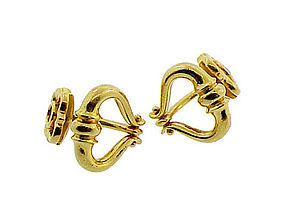 French 18K Yellow Gold Doorknocker Cufflinks