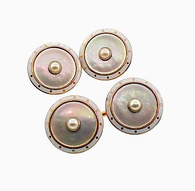 Edwardian 14K Gold, Mother-of-Pearl & Enamel Cufflinks