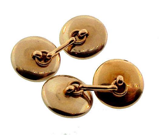 Edwardian 14K Gold, Mother-of-Pearl & Enamel Cufflinks