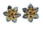 Art Nouveau 14K Gold Sapphire Enamel Flower Earrings
