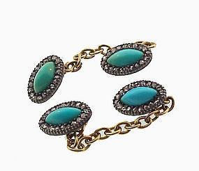 Georgian 15K Gold Silver Turquoise Diamond Cufflinks