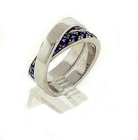 Cartier NOUVELLE VAGUE 18K White Gold Sapphire Ring