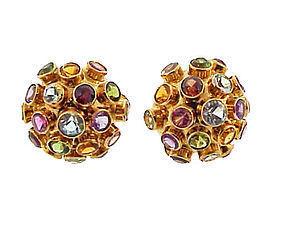 H Stern-Syle 18K Gold Multi-Stone Sputnik Earrings