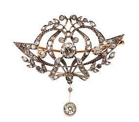 Edwardian Platinum & Diamond Convertible Pendant Brooch