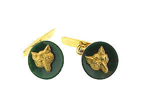 Victorian 18K Gold & Bloodstone Fox Head Cufflinks