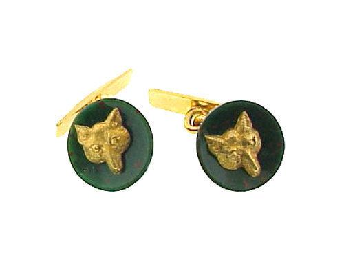 Victorian 18K Gold & Bloodstone Fox Head Cufflinks