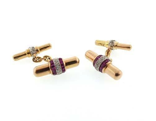 Art Deco 18K Gold Platinum Diamond Ruby Baton Cufflinks