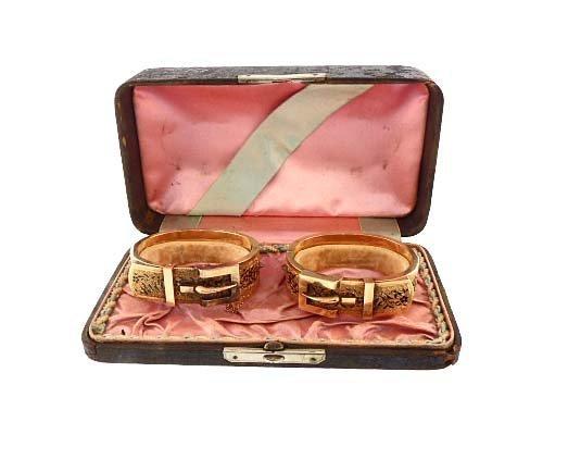 Pair Victorian 14K Gold Enamel Bangle Buckle Bracelets