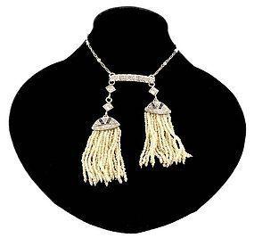 Edwardian Platinum Diamond Sapphire Pearl Necklace
