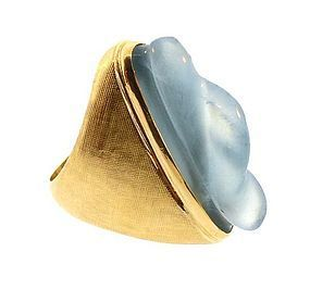 Burle Marx Modernist 18K Gold & Aquamarine Ring