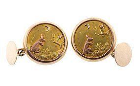 Victorian Multicolored 14K Gold Day & Night Cufflinks